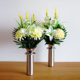 オリジナル造花 白ユリ黄菊